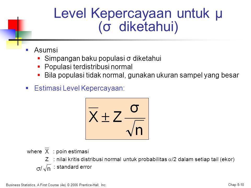 Level Kepercayaan untuk μ (σ diketahui)
