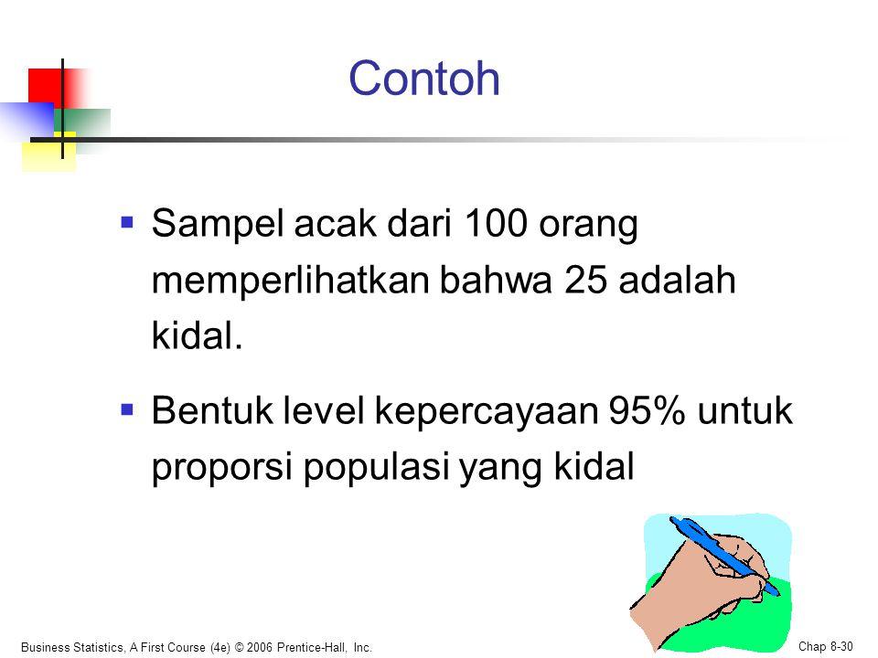 Contoh Sampel acak dari 100 orang memperlihatkan bahwa 25 adalah kidal. Bentuk level kepercayaan 95% untuk proporsi populasi yang kidal.