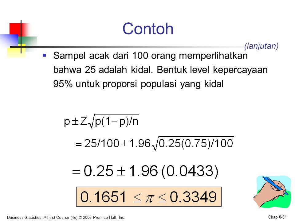 Contoh (lanjutan) Sampel acak dari 100 orang memperlihatkan bahwa 25 adalah kidal. Bentuk level kepercayaan 95% untuk proporsi populasi yang kidal.