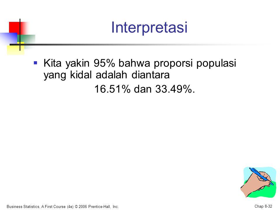 Interpretasi Kita yakin 95% bahwa proporsi populasi yang kidal adalah diantara. 16.51% dan 33.49%.