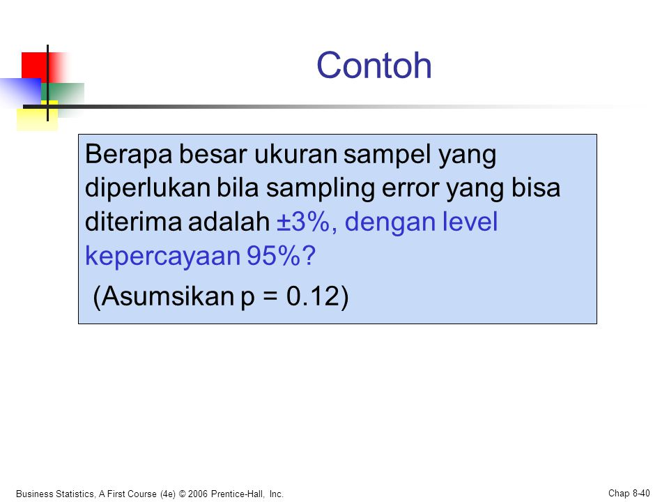 Contoh Berapa besar ukuran sampel yang diperlukan bila sampling error yang bisa diterima adalah ±3%, dengan level kepercayaan 95%