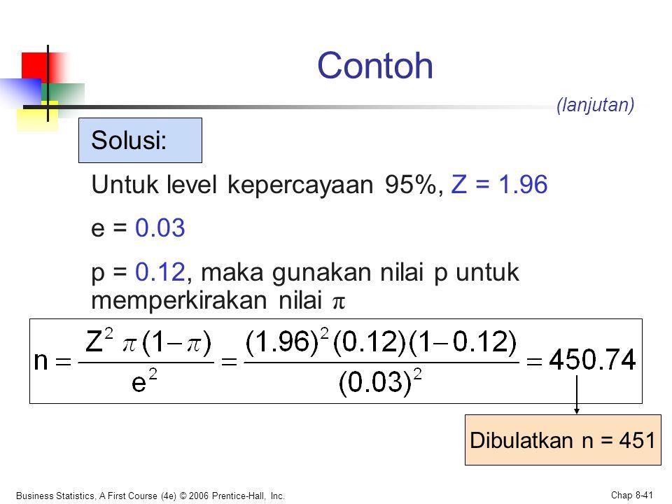 Contoh Solusi: Untuk level kepercayaan 95%, Z = 1.96 e = 0.03