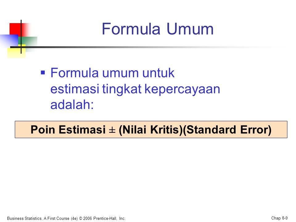 Poin Estimasi ± (Nilai Kritis)(Standard Error)