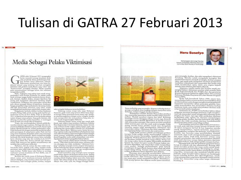 Tulisan di GATRA 27 Februari 2013