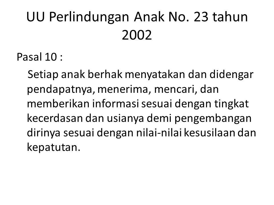 UU Perlindungan Anak No. 23 tahun 2002