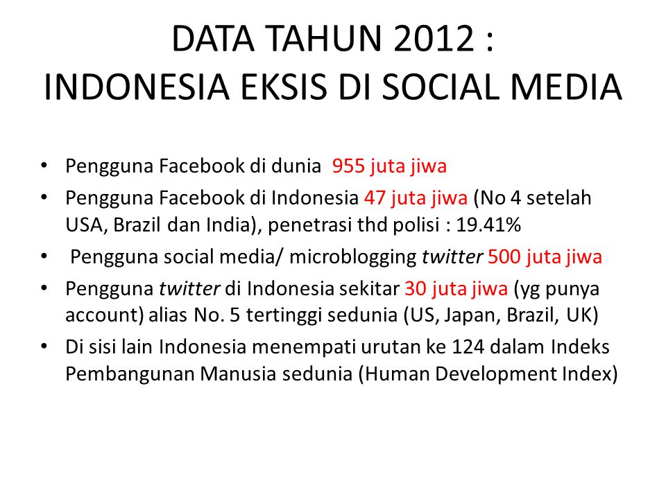 DATA TAHUN 2012 : INDONESIA EKSIS DI SOCIAL MEDIA