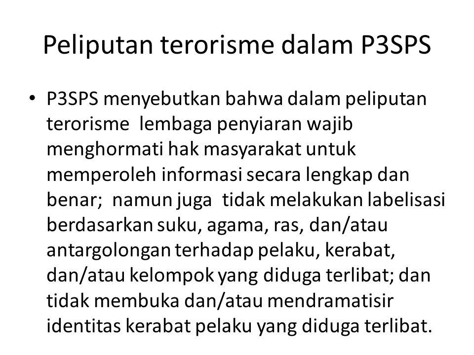 Peliputan terorisme dalam P3SPS