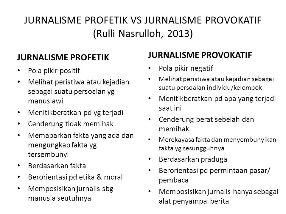 JURNALISME PROFETIK VS JURNALISME PROVOKATIF (Rulli Nasrulloh, 2013)