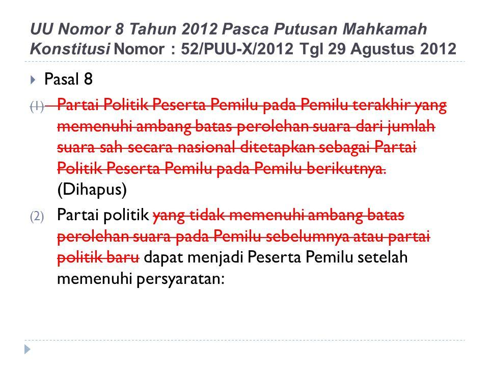 UU Nomor 8 Tahun 2012 Pasca Putusan Mahkamah Konstitusi Nomor : 52/PUU-X/2012 Tgl 29 Agustus 2012