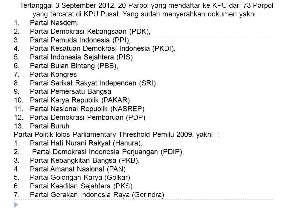 Tertanggal 3 September 2012, 20 Parpol yang mendaftar ke KPU dari 73 Parpol yang tercatat di KPU Pusat. Yang sudah menyerahkan dokumen yakni :