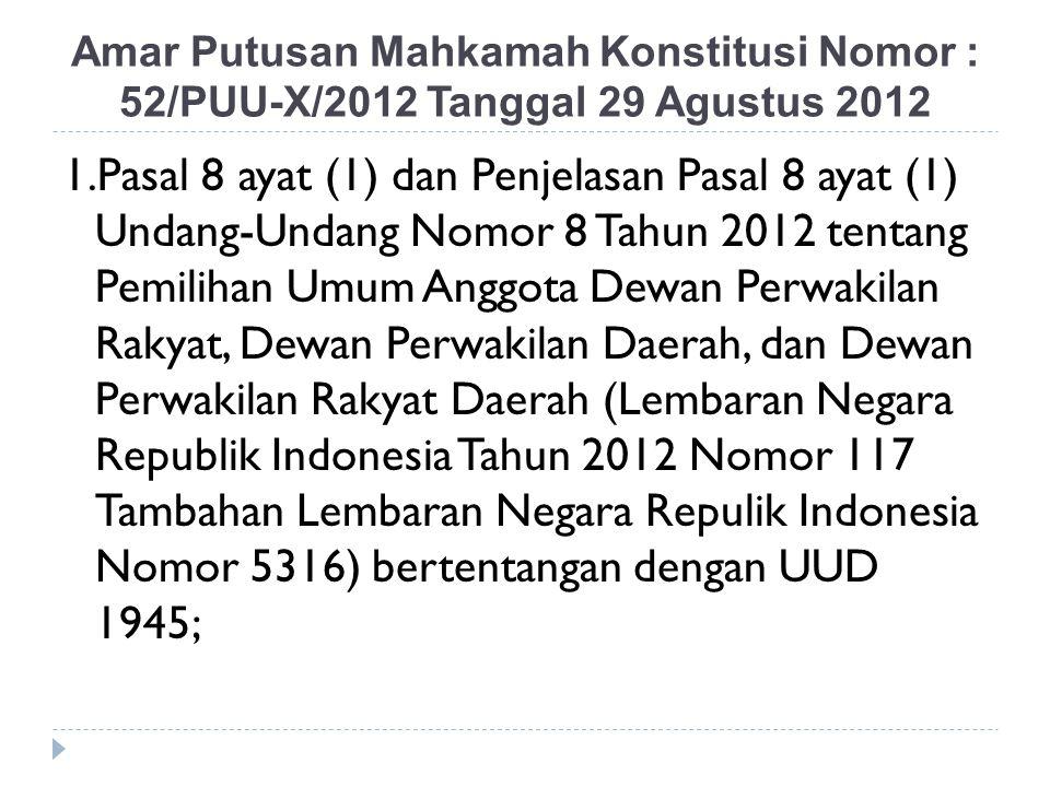 Amar Putusan Mahkamah Konstitusi Nomor : 52/PUU-X/2012 Tanggal 29 Agustus 2012