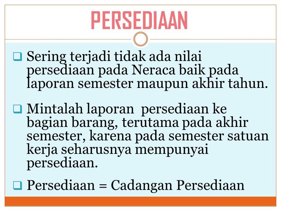 PERSEDIAAN Sering terjadi tidak ada nilai persediaan pada Neraca baik pada laporan semester maupun akhir tahun.