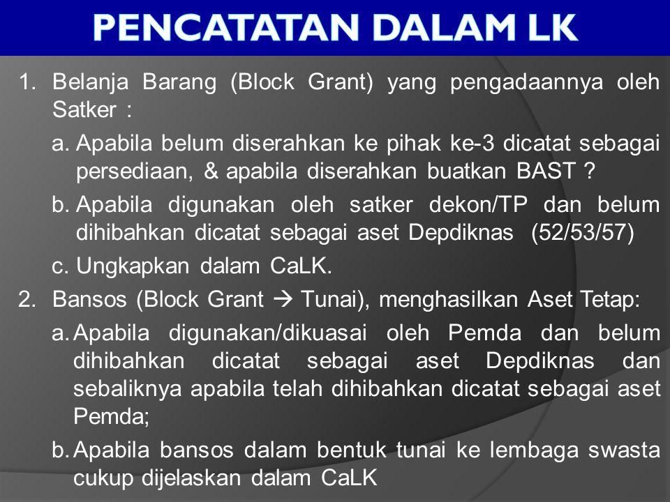 Pencatatan dalam lk Belanja Barang (Block Grant) yang pengadaannya oleh Satker :