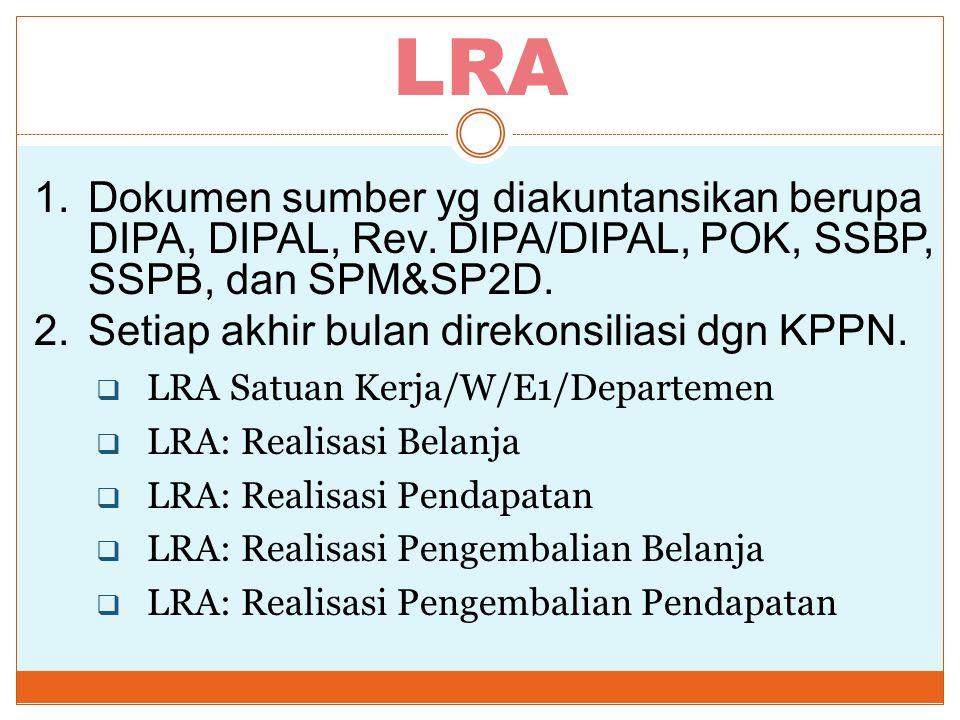 LRA Dokumen sumber yg diakuntansikan berupa DIPA, DIPAL, Rev. DIPA/DIPAL, POK, SSBP, SSPB, dan SPM&SP2D.