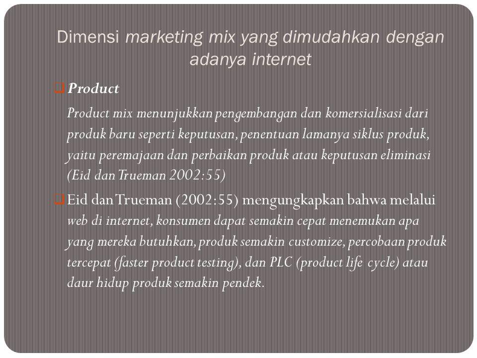 Dimensi marketing mix yang dimudahkan dengan adanya internet