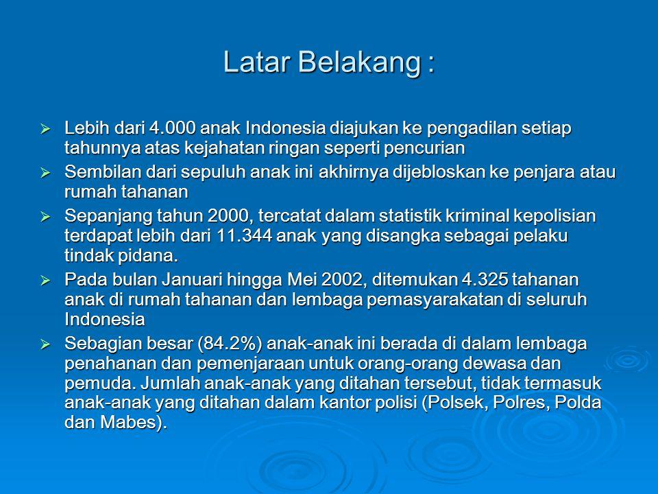Latar Belakang : Lebih dari 4.000 anak Indonesia diajukan ke pengadilan setiap tahunnya atas kejahatan ringan seperti pencurian.