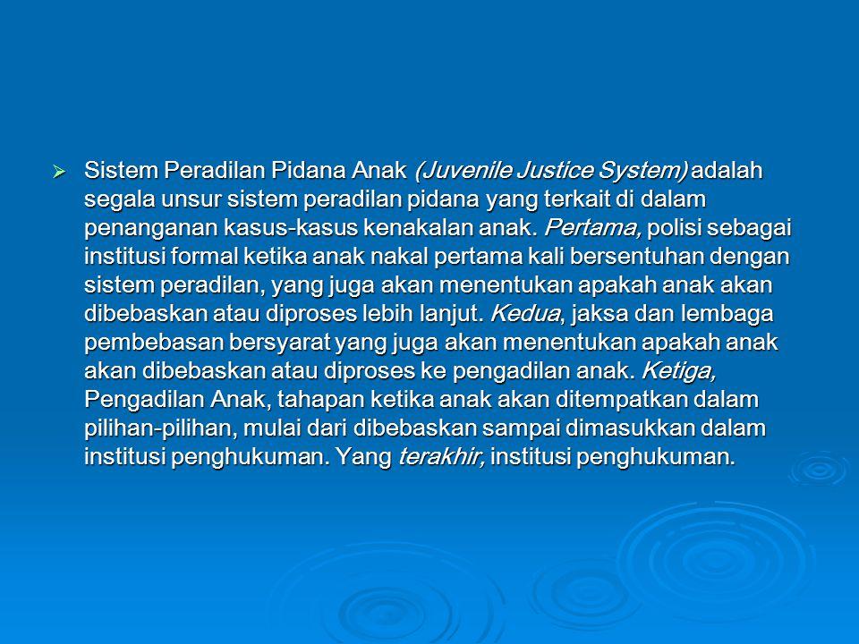 Sistem Peradilan Pidana Anak (Juvenile Justice System) adalah segala unsur sistem peradilan pidana yang terkait di dalam penanganan kasus-kasus kenakalan anak.