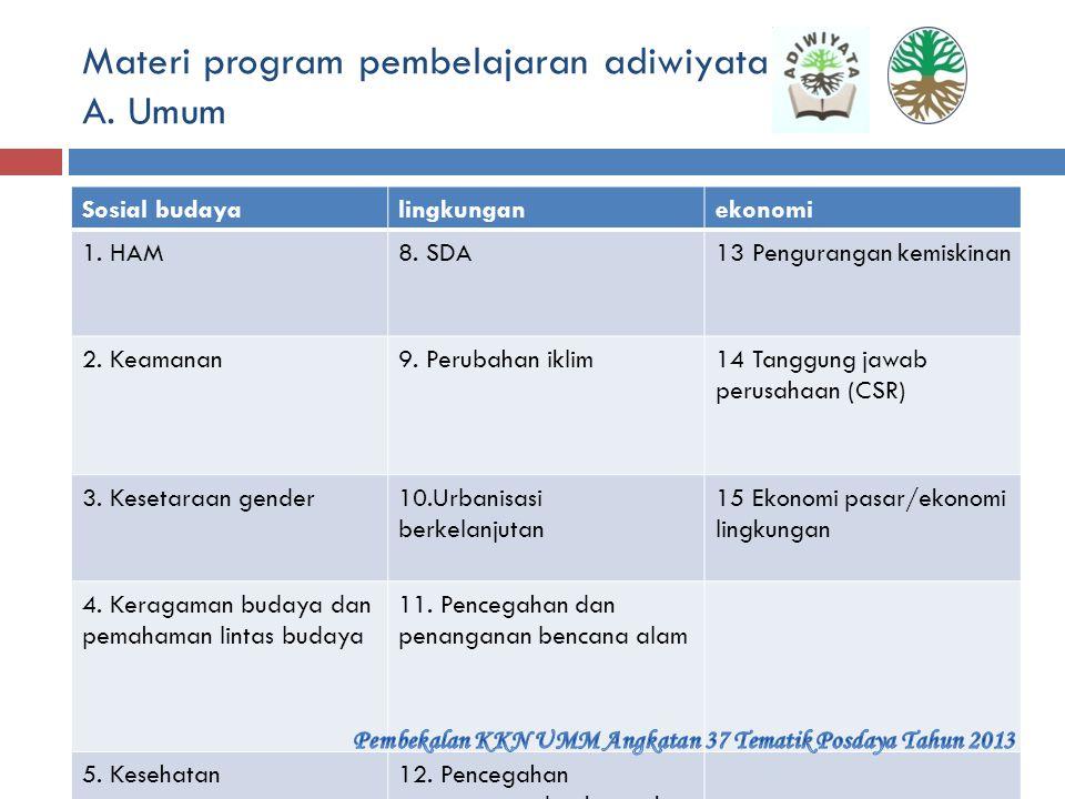 Materi program pembelajaran adiwiyata A. Umum