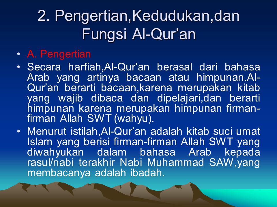 2. Pengertian,Kedudukan,dan Fungsi Al-Qur'an