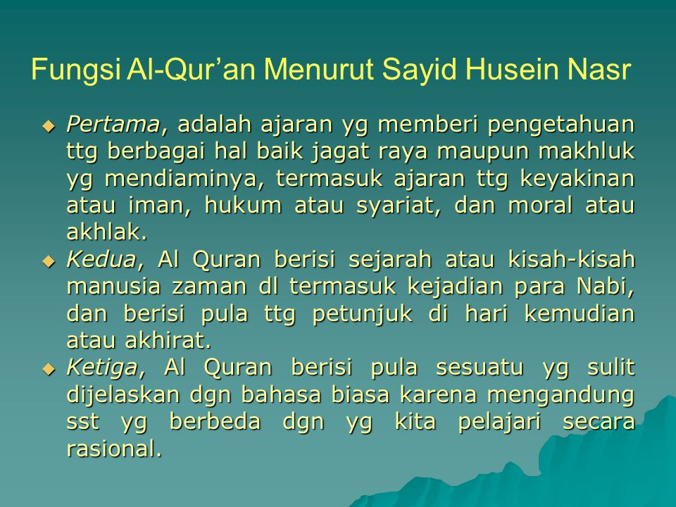 Fungsi Al-Qur'an Menurut Sayid Husein Nasr
