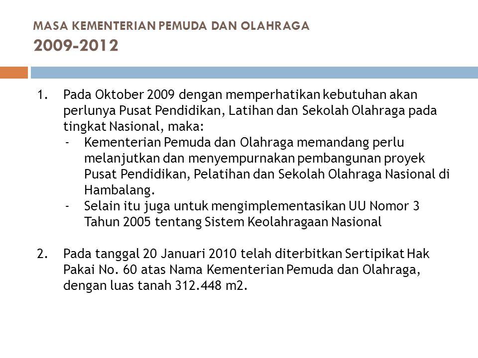 MASA KEMENTERIAN PEMUDA DAN OLAHRAGA 2009-2012