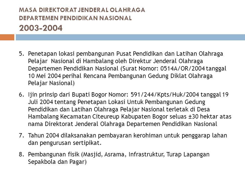 MASA DIREKTORAT JENDERAL OLAHRAGA DEPARTEMEN PENDIDIKAN NASIONAL 2003-2004