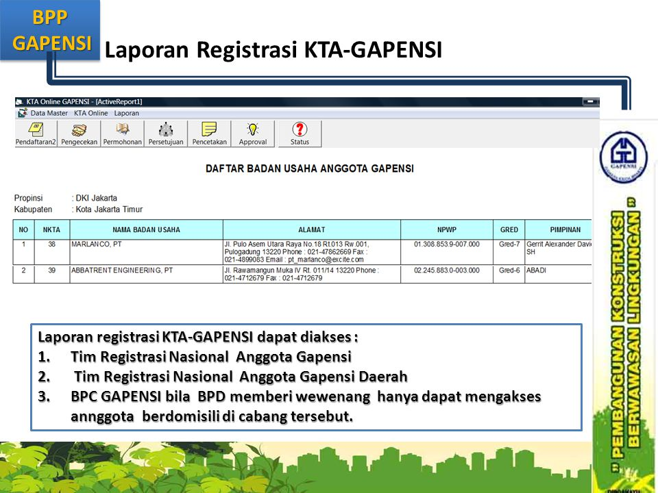 Laporan Registrasi KTA-GAPENSI