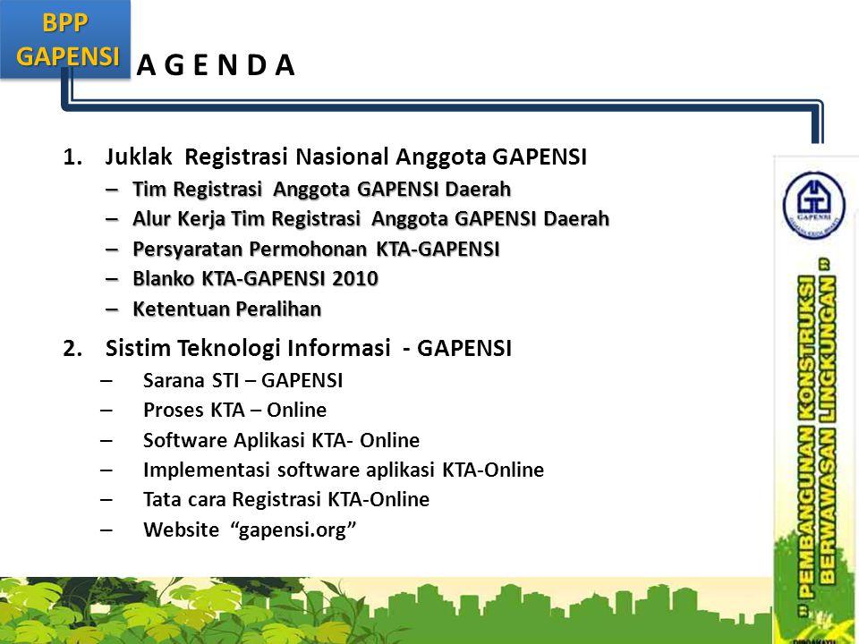 A G E N D A Juklak Registrasi Nasional Anggota GAPENSI