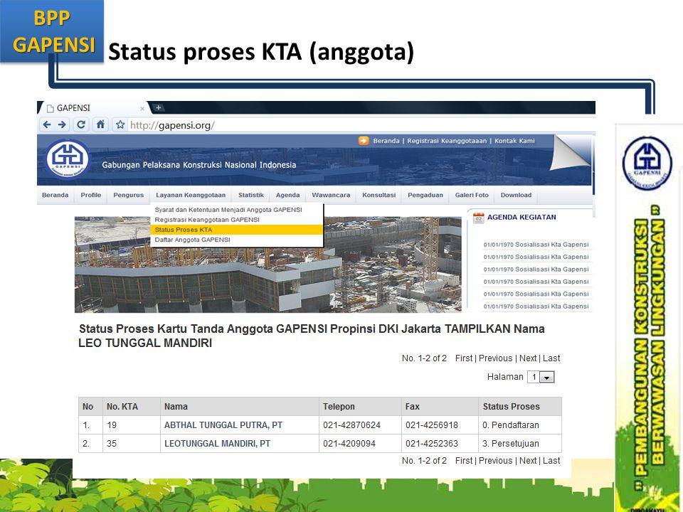 Status proses KTA (anggota)