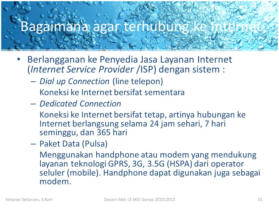 Bagaimana agar terhubung ke Internet