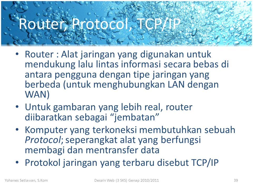 Router, Protocol, TCP/IP