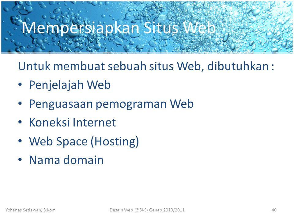 Mempersiapkan Situs Web