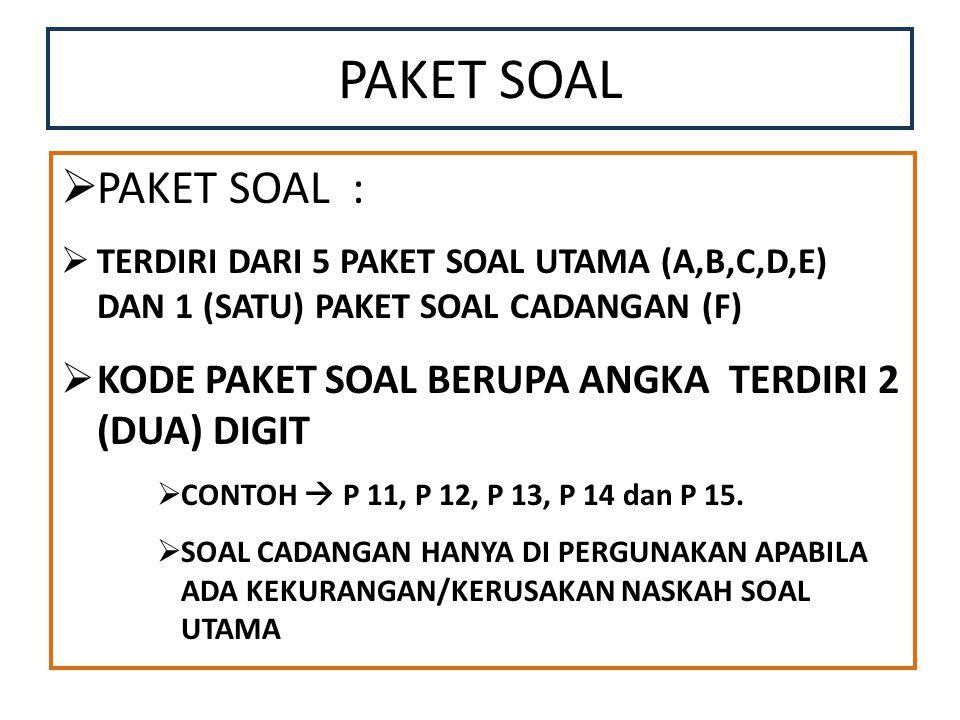 PAKET SOAL PAKET SOAL : TERDIRI DARI 5 PAKET SOAL UTAMA (A,B,C,D,E) DAN 1 (SATU) PAKET SOAL CADANGAN (F)