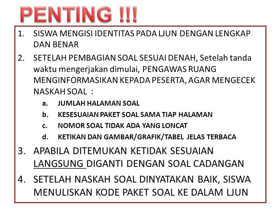 PENTING !!! SISWA MENGISI IDENTITAS PADA LJUN DENGAN LENGKAP DAN BENAR.