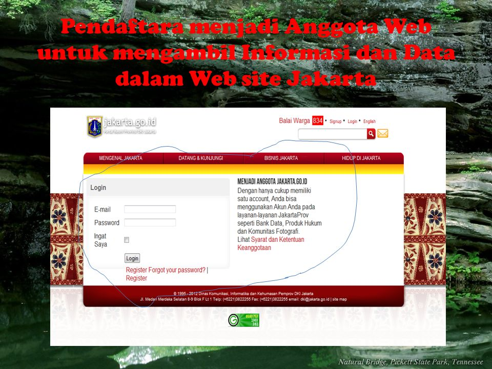 Pendaftara menjadi Anggota Web untuk mengambil Informasi dan Data dalam Web site Jakarta