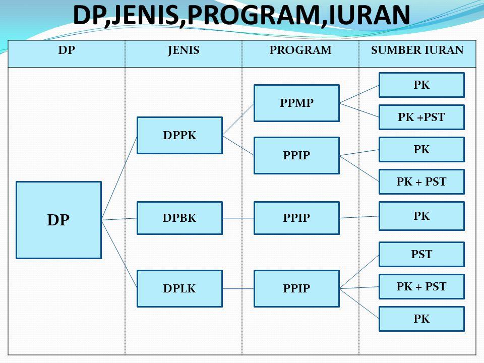 DP,JENIS,PROGRAM,IURAN DP DP JENIS PROGRAM SUMBER IURAN PK PPMP