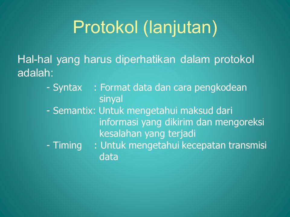Protokol (lanjutan) Hal-hal yang harus diperhatikan dalam protokol adalah: - Syntax : Format data dan cara pengkodean sinyal.