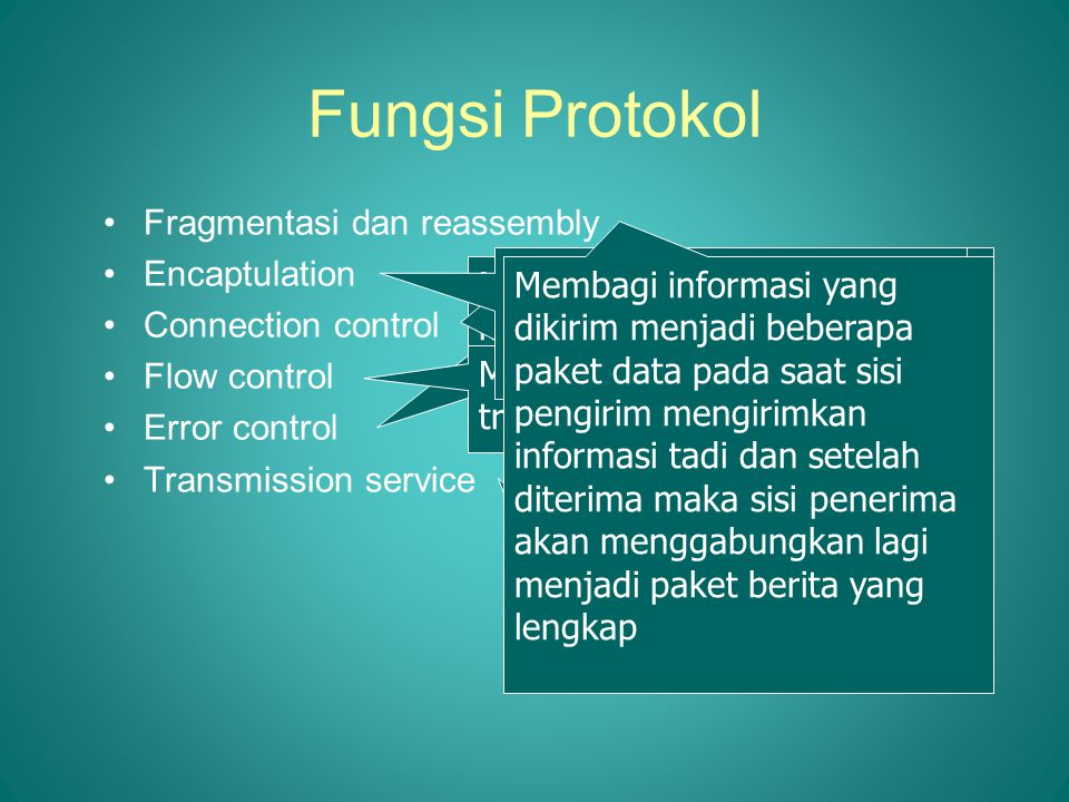 Fungsi Protokol Fragmentasi dan reassembly Encaptulation