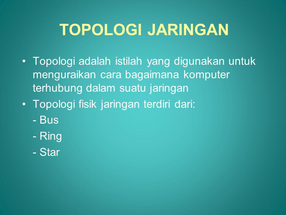 TOPOLOGI JARINGAN Topologi adalah istilah yang digunakan untuk menguraikan cara bagaimana komputer terhubung dalam suatu jaringan.