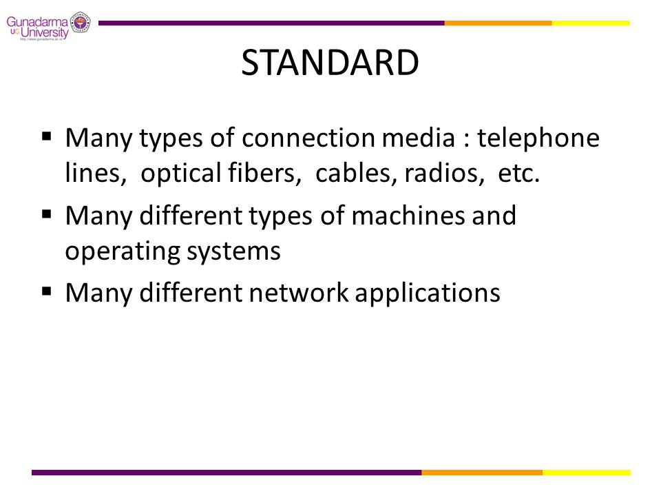 STANDARD Many types of connection media : telephone lines, optical fibers, cables, radios, etc.