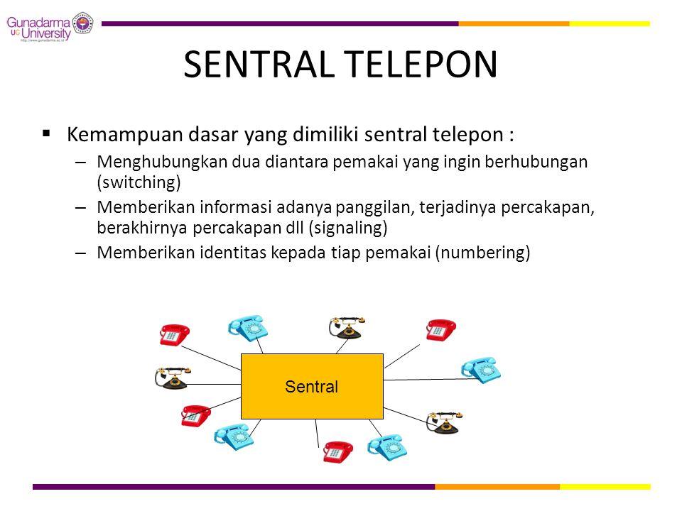 SENTRAL TELEPON Kemampuan dasar yang dimiliki sentral telepon :