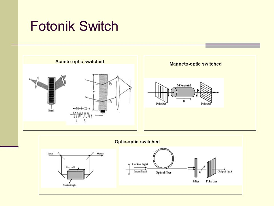 Fotonik Switch Acusto-optic switched Magneto-optic switched