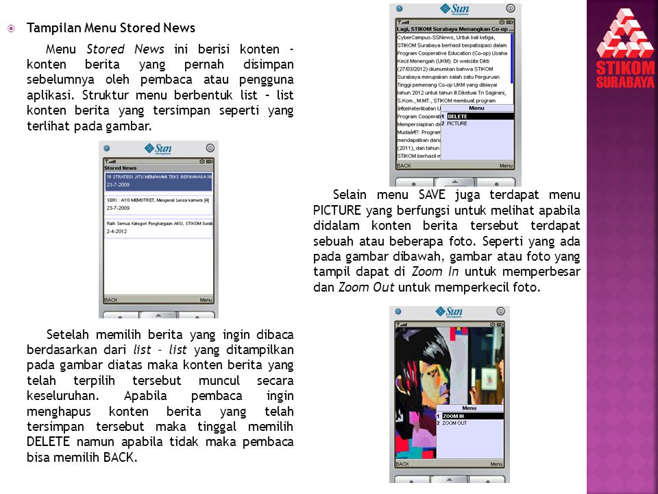 Tampilan Menu Stored News