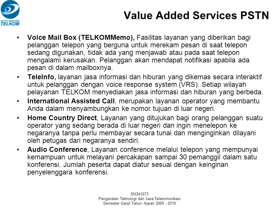 Value Added Services PSTN