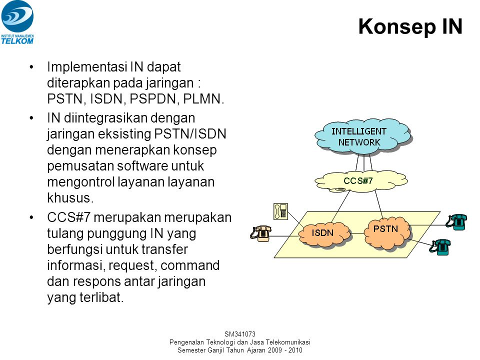 Konsep IN Implementasi IN dapat diterapkan pada jaringan : PSTN, ISDN, PSPDN, PLMN.