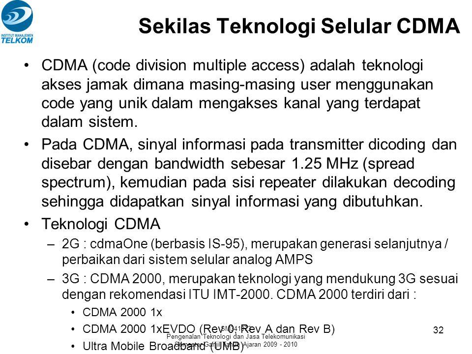 Sekilas Teknologi Selular CDMA
