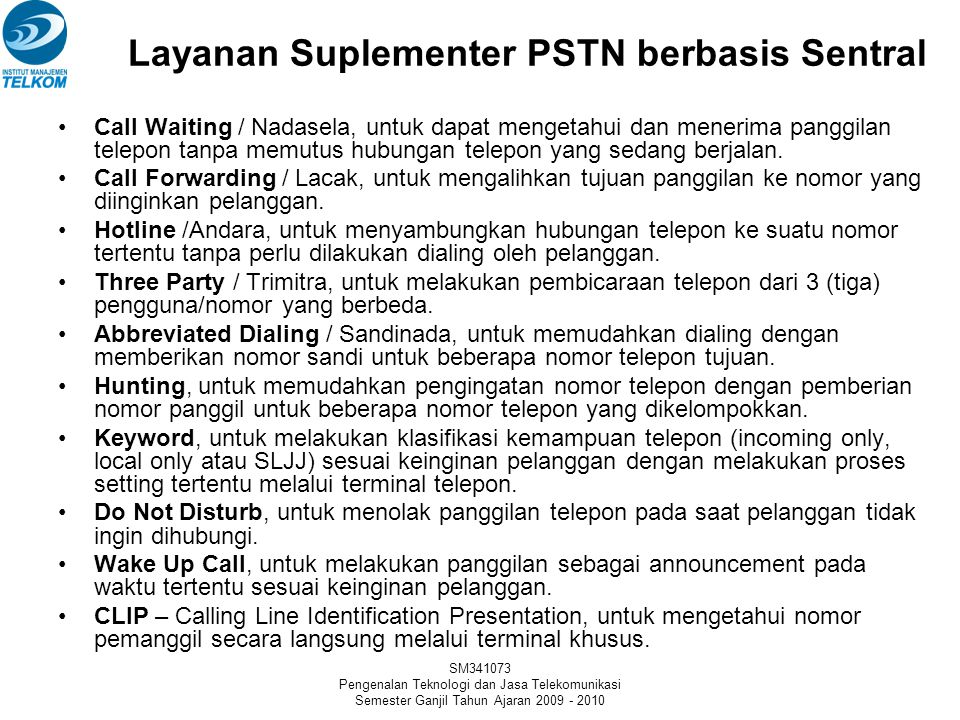 Layanan Suplementer PSTN berbasis Sentral