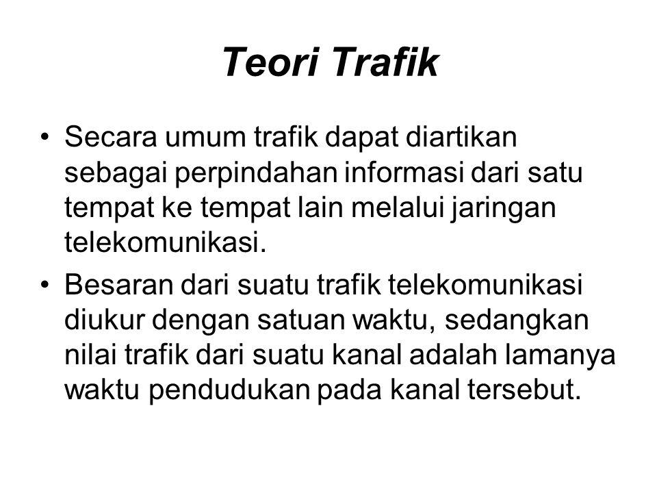Teori Trafik Secara umum trafik dapat diartikan sebagai perpindahan informasi dari satu tempat ke tempat lain melalui jaringan telekomunikasi.