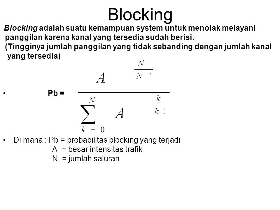 Blocking panggilan karena kanal yang tersedia sudah berisi.