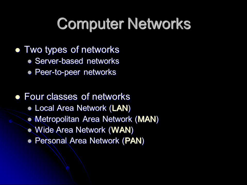 Computer Networks Two types of networks Four classes of networks